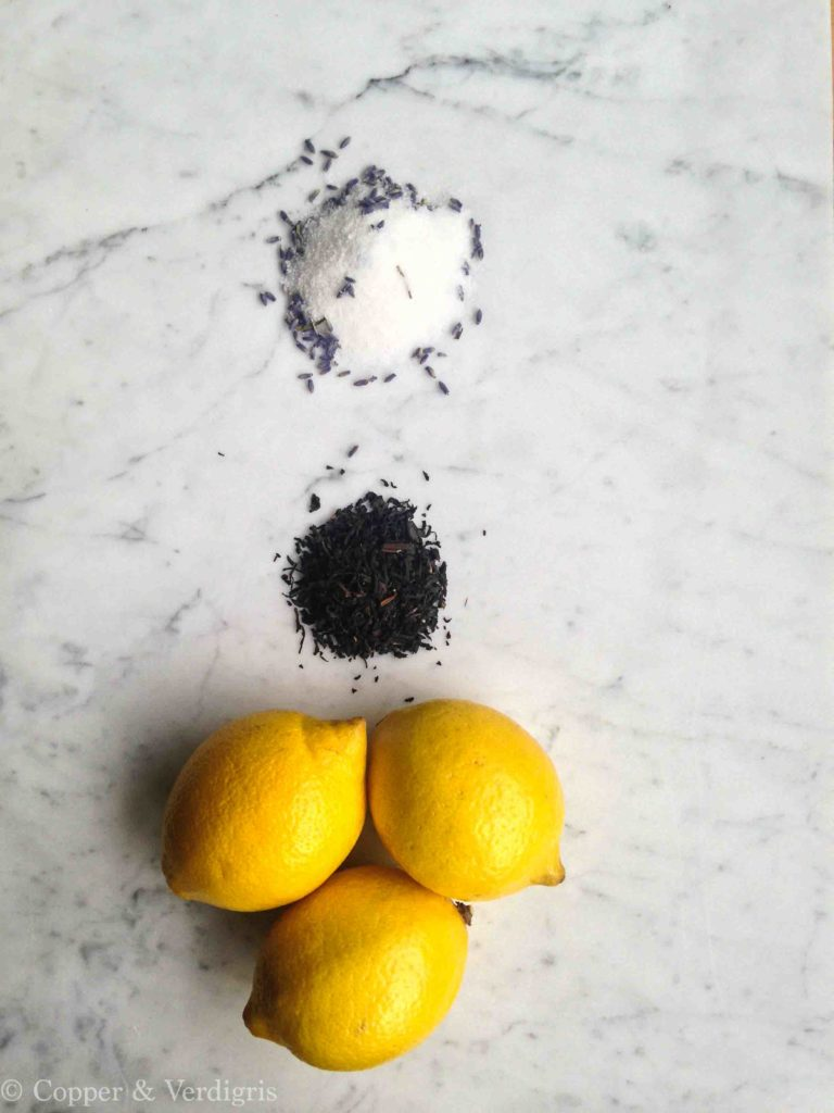 lavender sugar, tea, and lemons