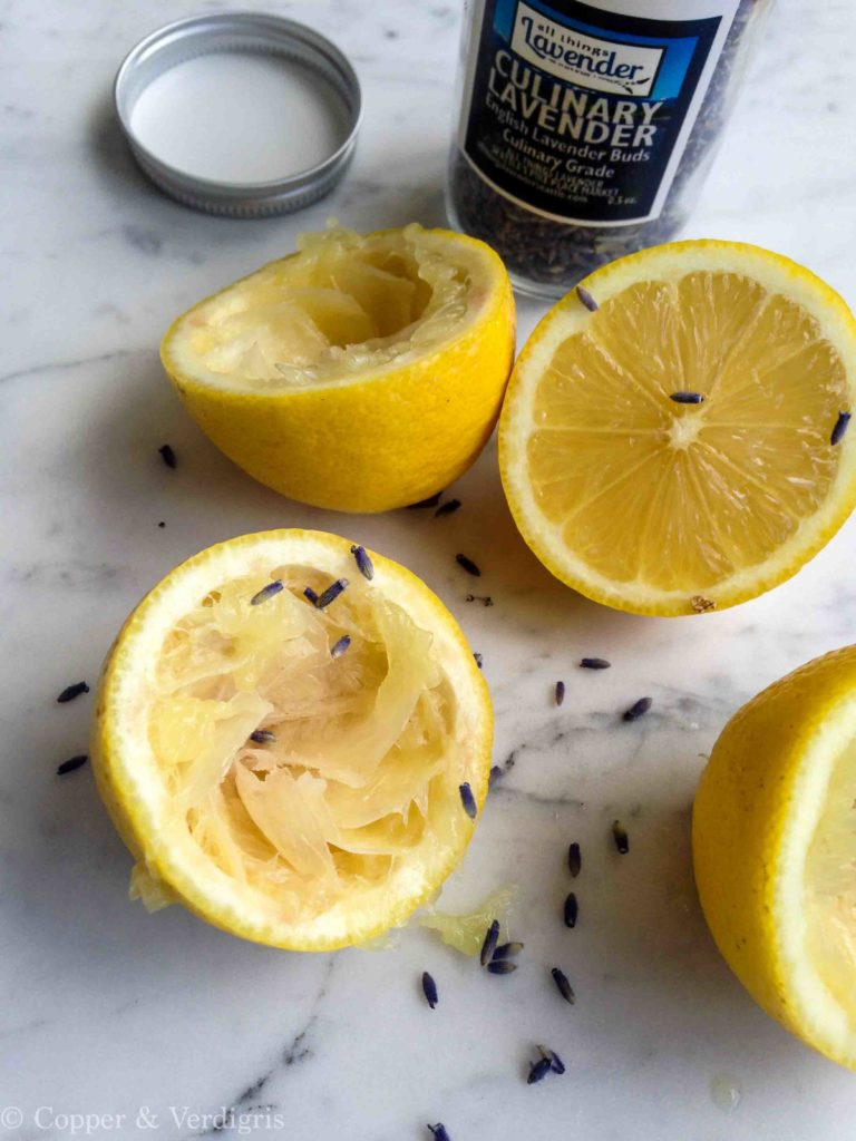 lemons and lavender on marble