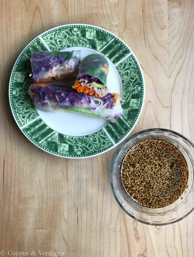 finished summer rolls and sauce overhead