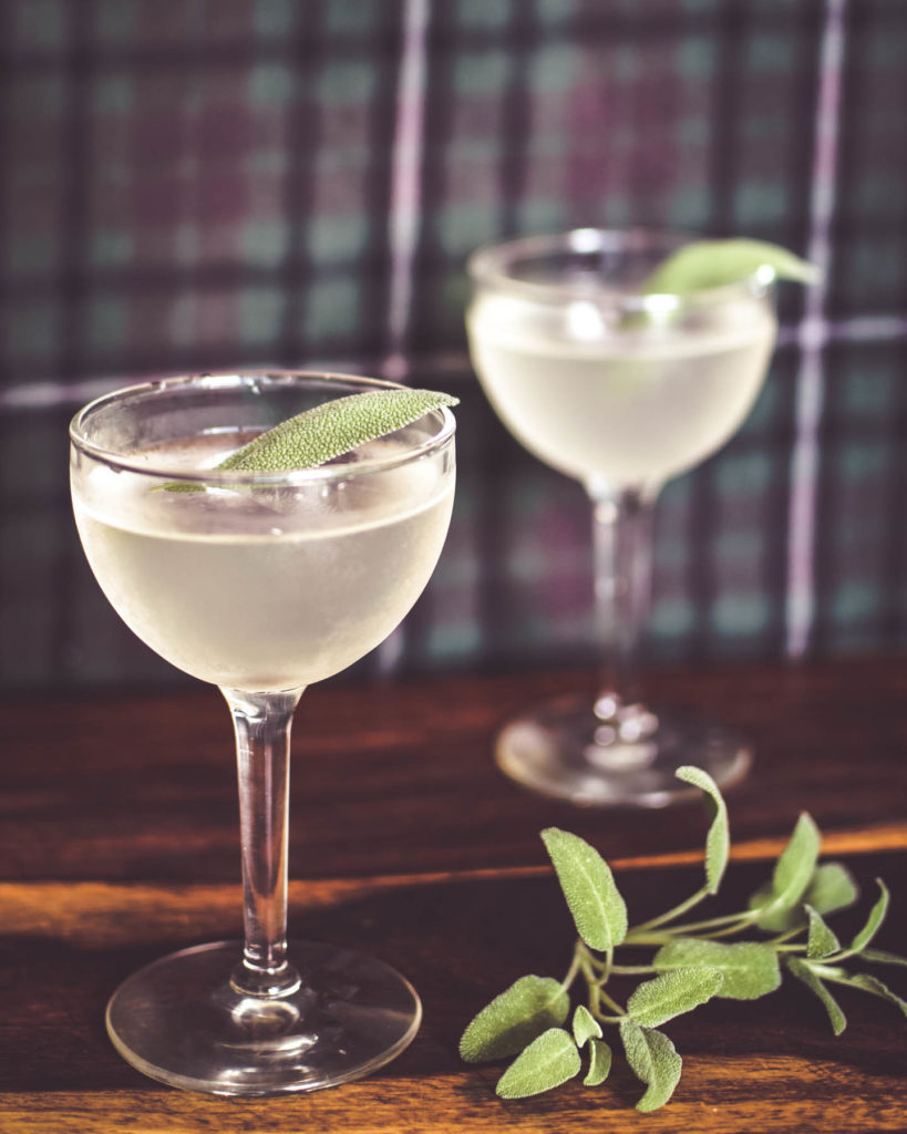 two martinis with sage