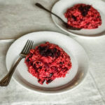 two plates of beet risotto